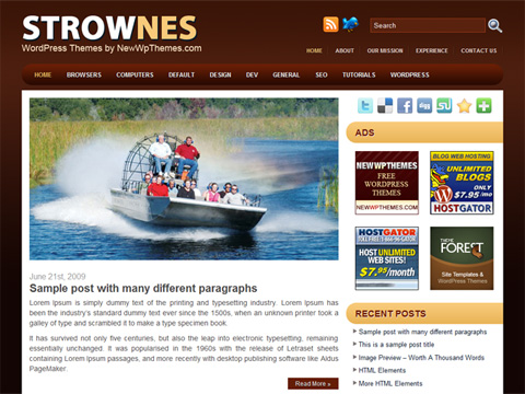 Strownes Brown WordPress Theme