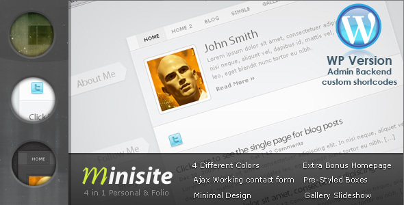 MiniSite – 4 in 1 Minimal WordPress Theme